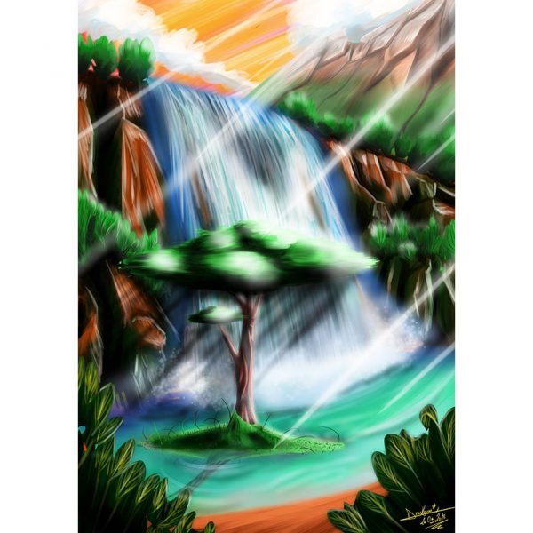 The Tree of Memories Ilustration Poster. Ladcscape Painting. NK WORLD