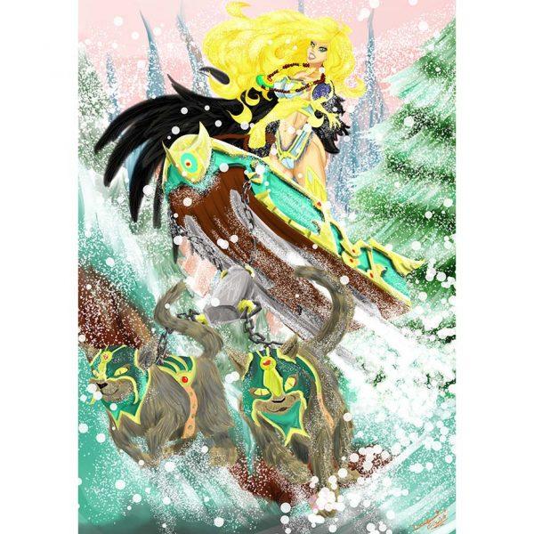 Freya Ilustration Poster. Norse Mythology. NK WORLD