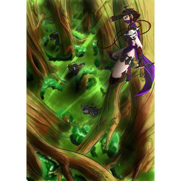 Hunting Kunoichis Ilustration Poster. Manga Style. NK WORLD