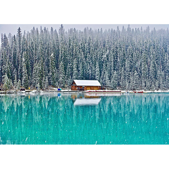 Cottage on the Winter Lake Photo Poster. NK WORLD