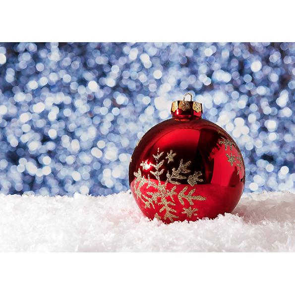 Red Christmas Ball. Christmas Posters and Postcards. NK WORLD.
