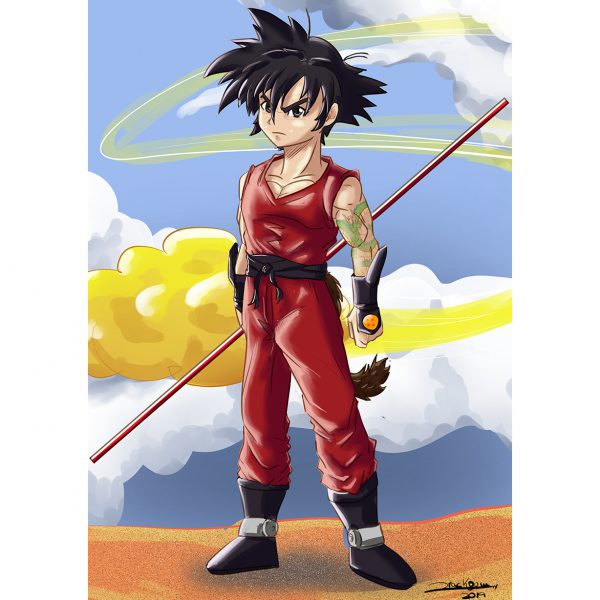 Son Goku. Illustration. Poster. Drackoum. Pere Bustos. NK WORLD.